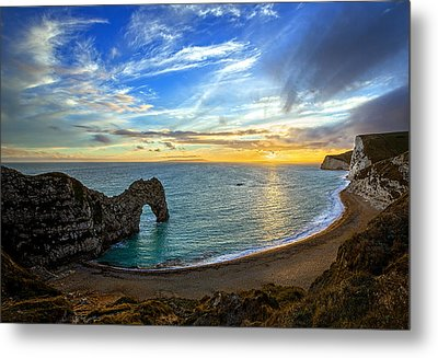 Durdle Door Sunset Metal Print by Ian Good