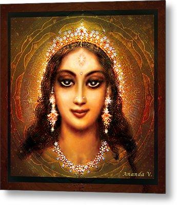 Durga In The Sri Yantra - Dark Metal Print