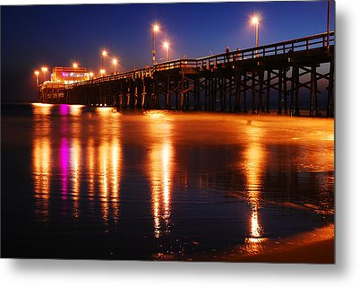 Metal Print featuring the photograph Dusk At Newport Pier by James Kirkikis