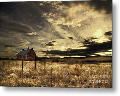 Dusk At The Red Barn Metal Print