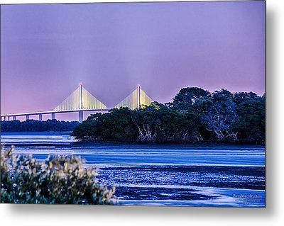 Dusk At The Skyway Bridge Metal Print by Michael White