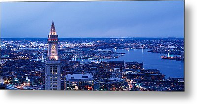 Dusk Boston Massachusetts Usa Metal Print by Panoramic Images