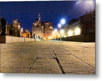 Dusk Falls On Boston's Long Wharf Metal Print by Mark E Tisdale