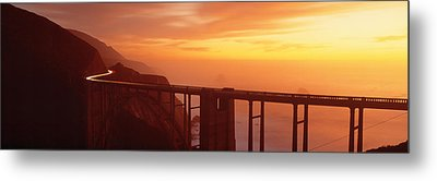 Dusk Hwy 1 W Bixby Bridge Big Sur Ca Usa Metal Print by Panoramic Images
