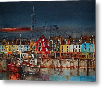 Dusk On Cobh Harbour Cork Metal Print by Val Byrne