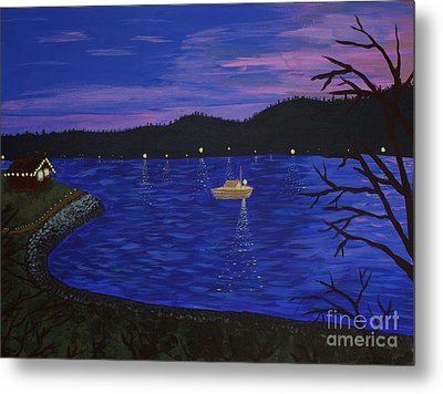 Dusk On Puget Sound Metal Print by Vicki Maheu