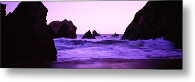 Dusk On The Santa Cruz Coastline Metal Print by Panoramic Images