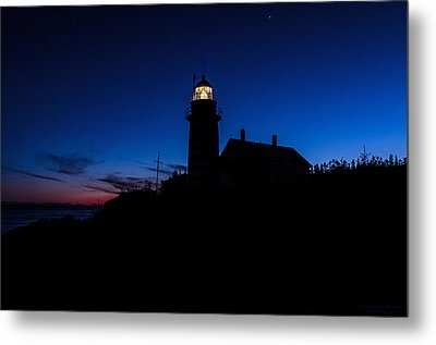 Dusk Silhouette At West Quoddy Head Lighthouse Metal Print by Marty Saccone