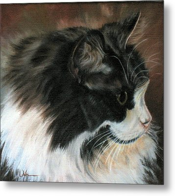Dusty Our Handsome Norwegian Forest Kitty Metal Print by LaVonne Hand