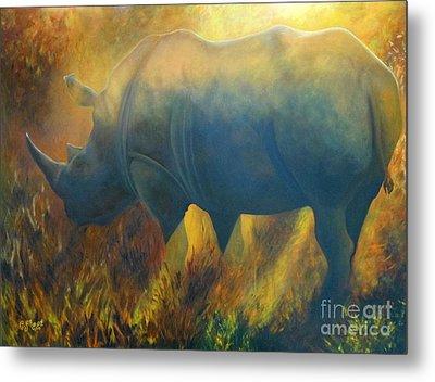 Dusty Rhino Metal Print by Caroline Street