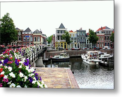 Dutch Cityscape With Boats Metal Print by Carol Groenen