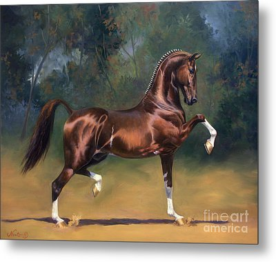 Dutch Harness Horse Saffraan Metal Print by Jeanne Newton Schoborg