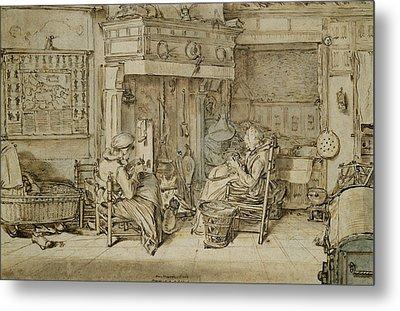 Dutch Interior, 1617 Pen, Ink And Brush On Paper Metal Print by Willem Pietersz Buytewech