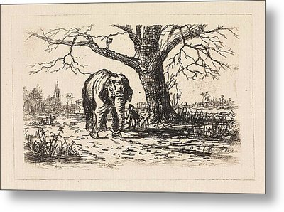 Dutch Landscape With An Elephant And Supervisor Metal Print