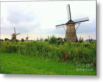 Dutch Landscape With Windmills Metal Print by Carol Groenen