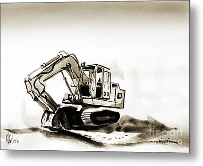 Duty Dozer In Sepia Metal Print by Kip DeVore