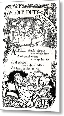 Duty Of Children  1895 Metal Print by Daniel Hagerman