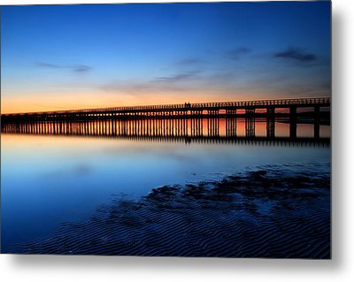 Duxbury Beach Powder Point Bridge Twilight Metal Print