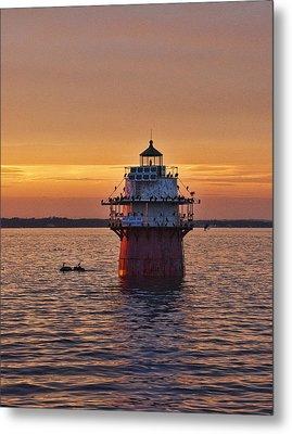 Duxbury Pier Light At Sunset Metal Print