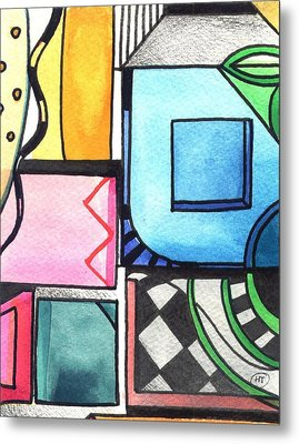 Dwelling In The Square Metal Print by Helena Tiainen