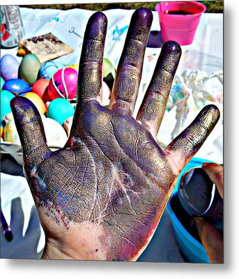 Dyed Hand Metal Print by Heidi Manly