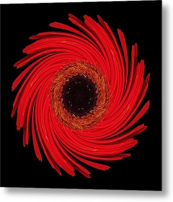 Dying Amaryllis Flower Mandala Metal Print by David J Bookbinder