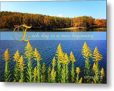Each Day Is A New Beginning Lake With Goldenrod Metal Print by Beverly Claire Kaiya