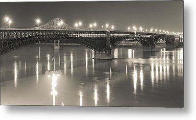 Metal Print featuring the photograph Eads Bridge And Train by Scott Rackers