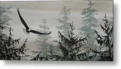 Eagle And Cedars Metal Print by James Williamson