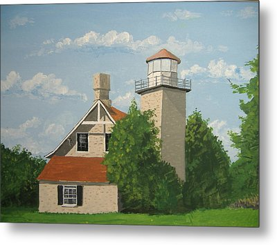 Metal Print featuring the painting Eagle Bluff Lighthouse Wisconsin by Norm Starks