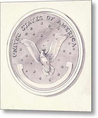 Eagle Design For Us Coin Metal Print
