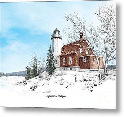 Eagle Harbor Lighthouse Titled Metal Print by Darren Kopecky