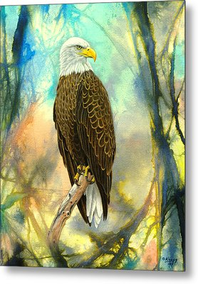 Eagle In Abstract Metal Print by Paul Krapf