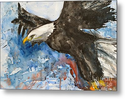 Eagle In Flight Metal Print by Ismeta Gruenwald