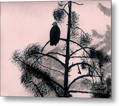 Metal Print featuring the drawing Eagle In Pink Sky by D Hackett