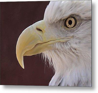 Eagle Portrait Freehand Metal Print by Ernie Echols