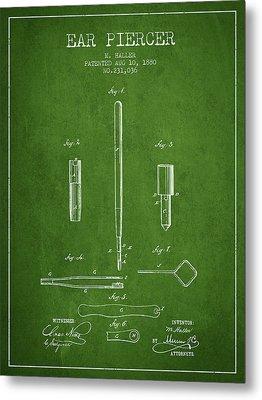Ear Piercer Patent From 1880 - Green Metal Print