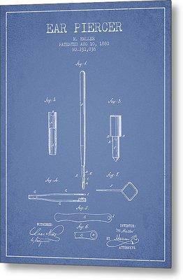 Ear Piercer Patent From 1880 - Light Blue Metal Print
