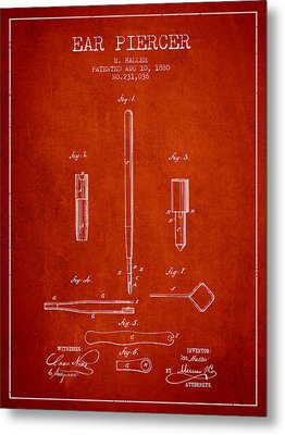 Ear Piercer Patent From 1880 - Red Metal Print