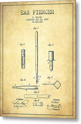 Ear Piercer Patent From 1880 - Vintage Metal Print