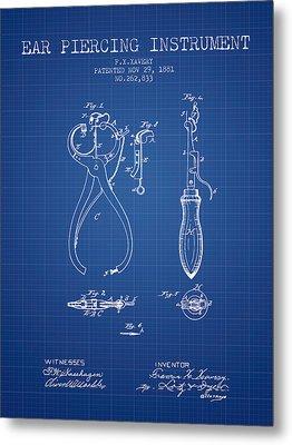 Ear Piercing Instrument Patent From 1881 - Blueprint Metal Print