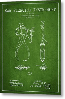 Ear Piercing Instrument Patent From 1881 - Green Metal Print