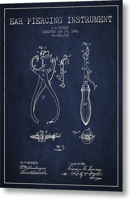 Ear Piercing Instrument Patent From 1881 - Navy Blue Metal Print