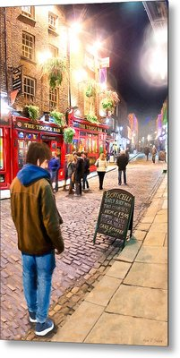 Early Bird Special In Dublin's Temple Bar Metal Print by Mark E Tisdale