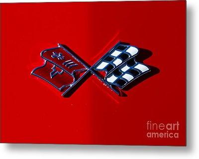 Early C3 Corvette Emblem Red Metal Print by Dennis Hedberg