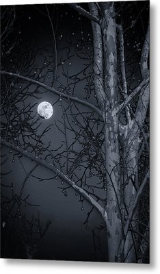 Metal Print featuring the photograph Early Moon In Black And White by Micah Goff