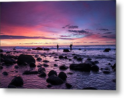 Early Morning Anglers Attempt A Good Metal Print by Robbie George