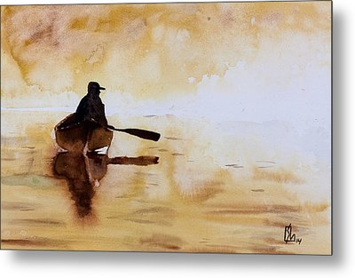 Early Morning Canoe Metal Print