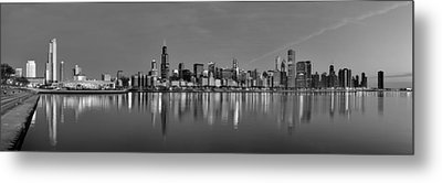 Early Morning Chicago In Monochrome Metal Print by Georgia Fowler