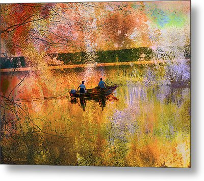 Early Morning Fishermen Looking For That Perfect Spot Metal Print by J Larry Walker